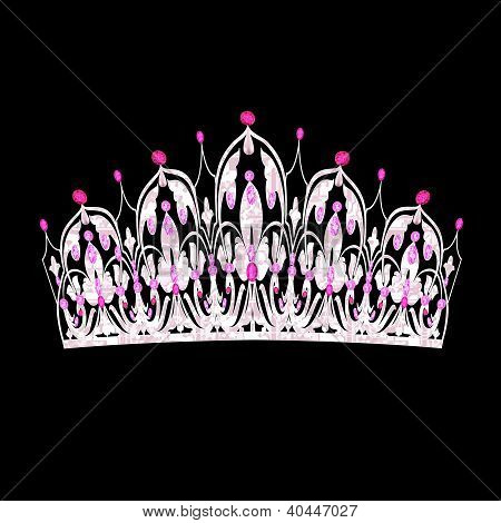 Tiara Women's Wedding With Pink Precious Stones