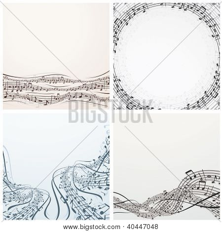 Backgrounds with Musical Notes. Vector Set
