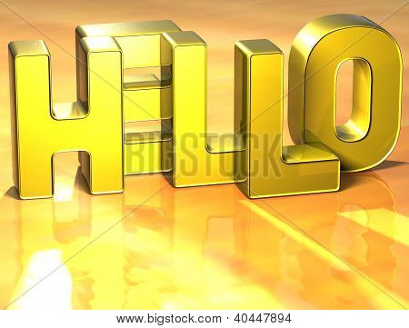 3D Word Hello On Yellow Background