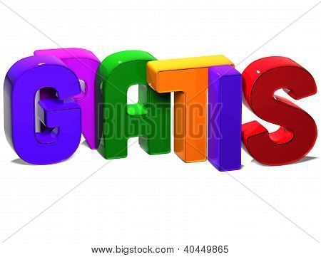 3D Word Gratis On White Background