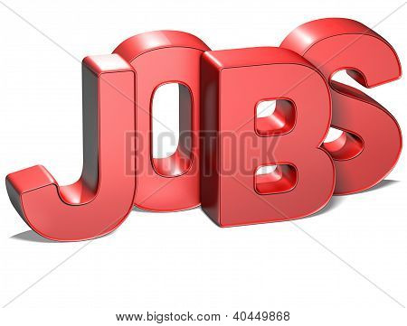 3D Word Jobs On White Background