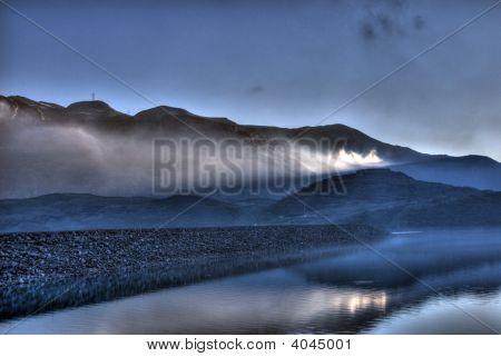 Lake Dam At Dusk
