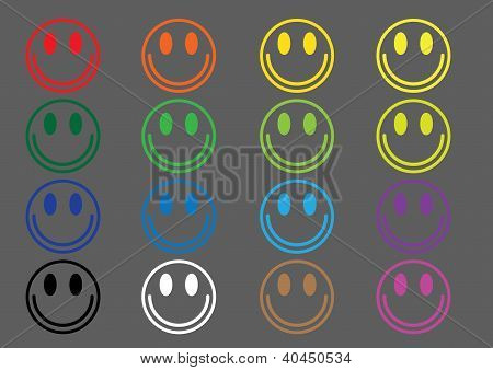 Colored icons emoticons