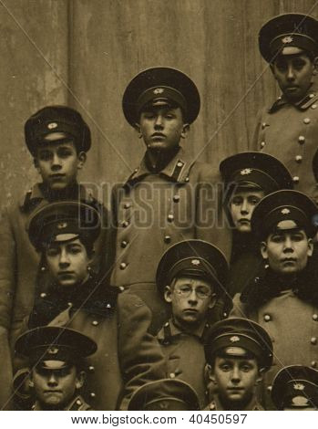 RUSSIAN EMPIRE - CIRCA 1880: Vintage photo of a group schoolboys Odessa gymnasium, circa 1880.