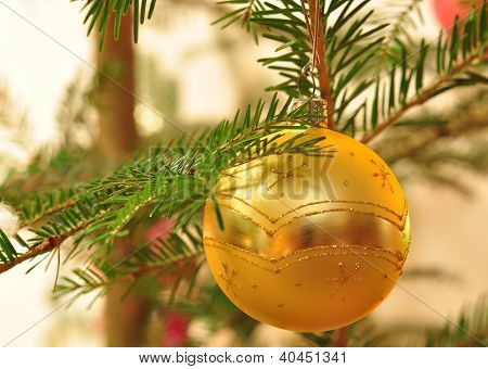 Branch Of Christmas Tree With Golden Ball With Bokeh