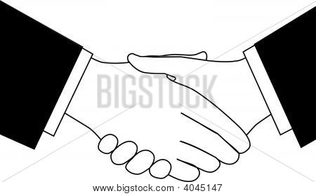 Clipart Sketch Of Business Deal Handshake In Black And White