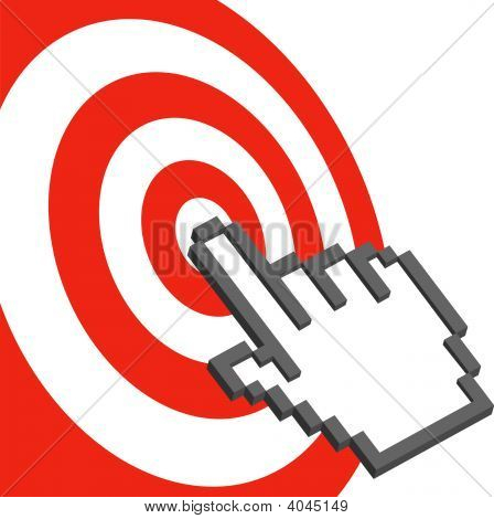 Cursor Hand To Select Click On Red Target Bulls Eye