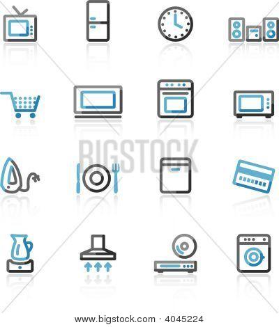 Blue And Grey Contour Home Appliances Web Icons