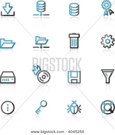 Blue And Grey Contour Server Web Icons