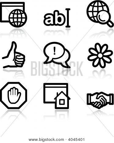 Internet Communication Black Contour Web Icons V2