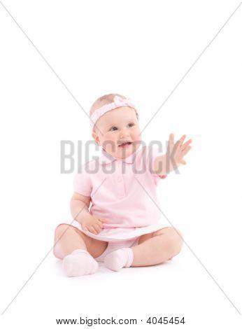 Sweet Happy Little Girl Reach One Hand