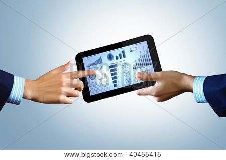 Modern computer technology in business illustration with wireless device