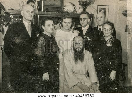 LODZ, POLAND, CIRCA 1948 - Vintage photo of newlyweds with their parents and uncle, Lodz, Poland, circa 1948