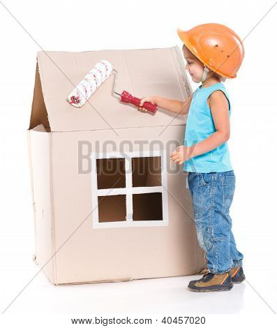 Little worker with paint roller isolated on white