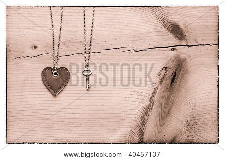 Vintage Valentine,  Black And White Heart And Key On Rustic Cracked Wood For Valentines Day Backgrou