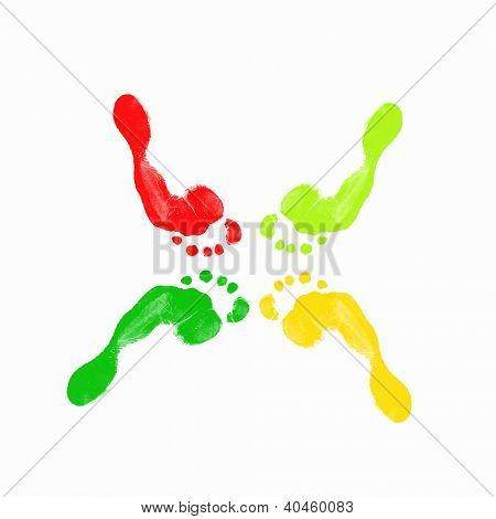 Colourful human foot prints on white background