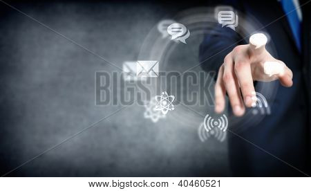 Business meeting in a virtual space conceptual business illustration.