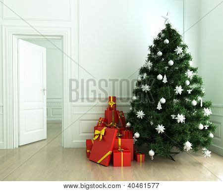 Christmas tree and gifts in the living room