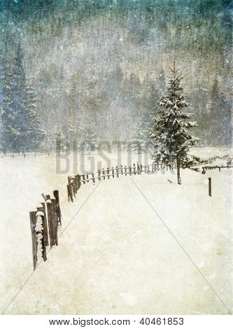 Vintage card with winter scene