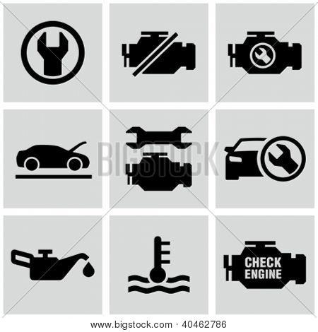 Engine, car dashboard icons set.