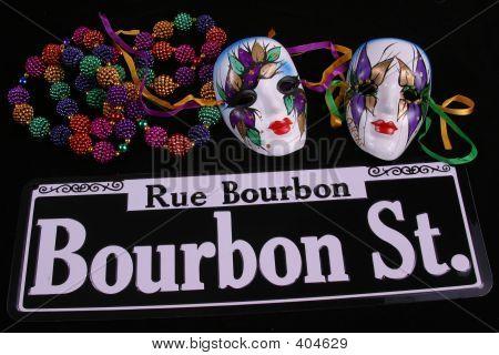 Two Masks, Beads & Bourbon Street