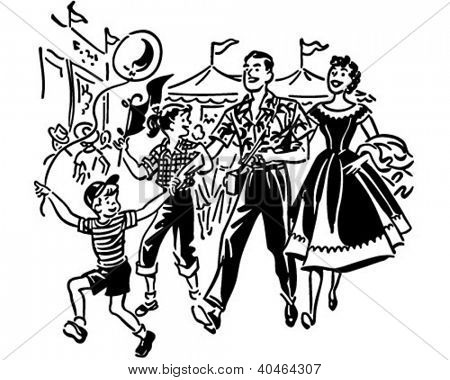 Family At Amusement Park - Retro Clipart Illustration