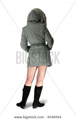 Girl Rear In Gray Coat