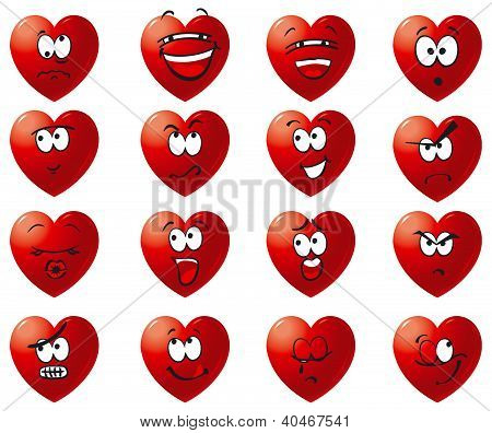 Vector set icons of hearts