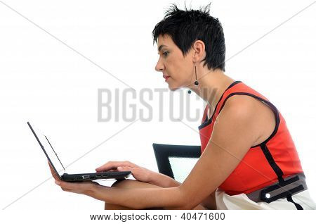 Business Woman On A Laptop - Isolated On White