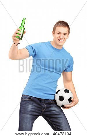 An euphoric fan holding a beer bottle and football cheering isolated on white background