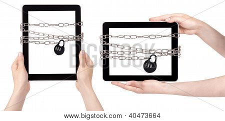 Tablet Pc Wrapped In Chains Security Concept