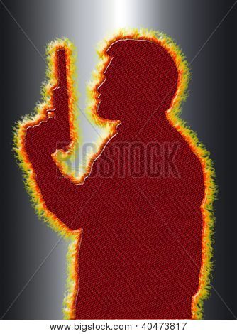 Flaming Assassin In 3D Black Background