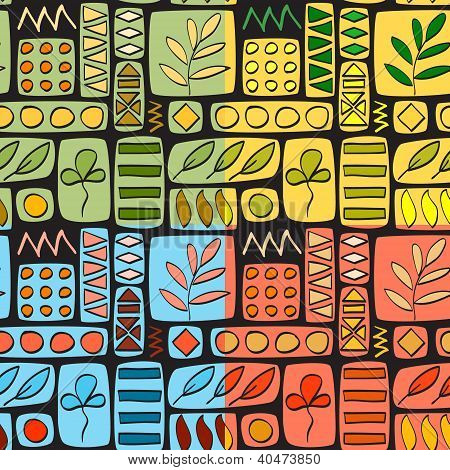 Patchwork seamless pattern, four colors set, vector