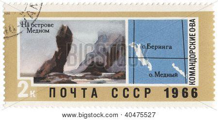 Commander Islands On Post Stamp