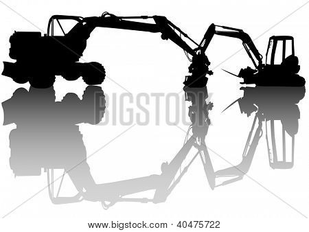 drawing heavy construction excavators