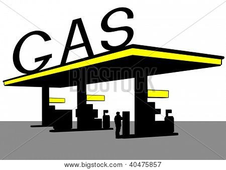 drawing of building a large gas station