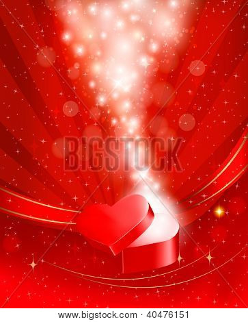 Valentine`s day background with open gift box. Raster version of vector