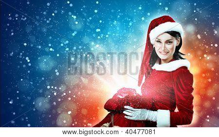 beautiful girl in santa costume