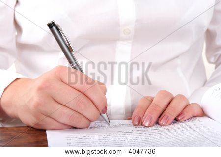 Feman Hand  With Pen