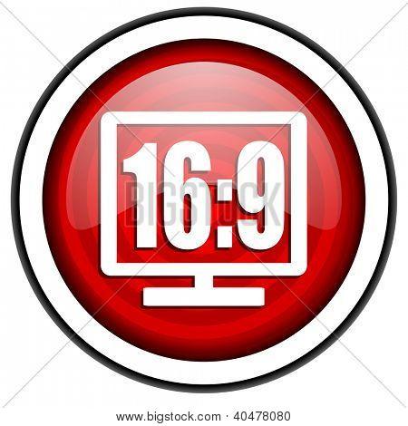 16 9 pantalla rojo brillante icono aislado sobre fondo blanco