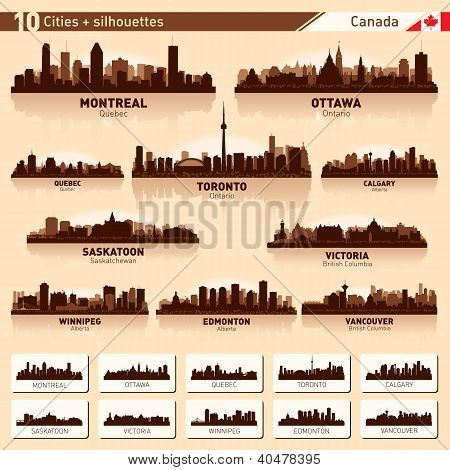 City Skyline Set. 10  City Silhouettes Of Canada #1