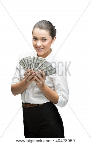 thoughtful businesswoman holding money
