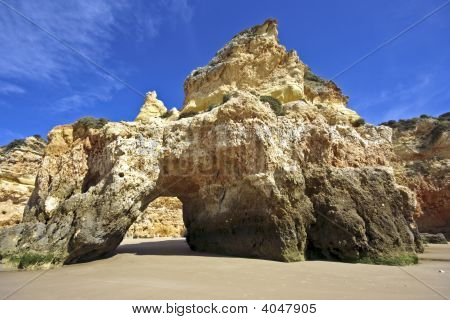 Natural rocks near Alvor at Praia Tres Irmaos in Portugal
