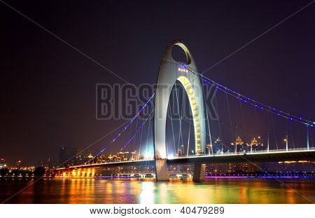 Night scene of Liede bridge with brilliant spot light in Guangzhou city of China
