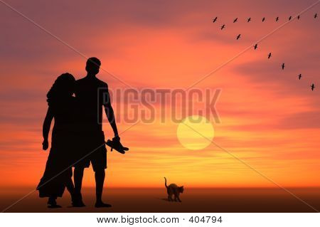 Couple At Surise