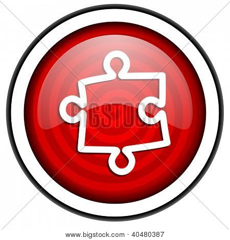 puzzle red glossy icon isolated on white background
