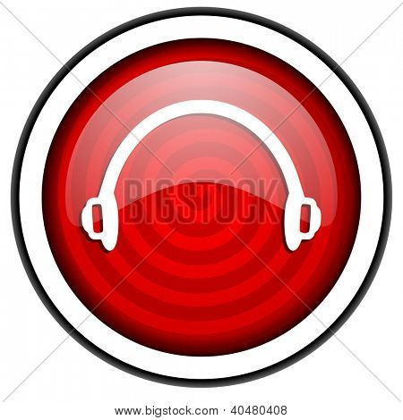 headphones red glossy icon isolated on white background