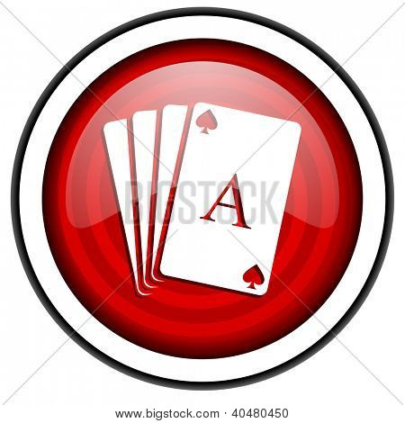 playing cards red glossy icon isolated on white background