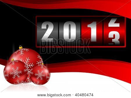 2013 new years illustration with christmas balls and counter