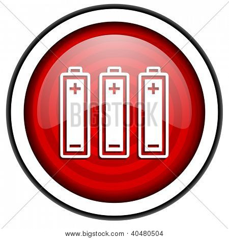 batteries red glossy icon isolated on white background
